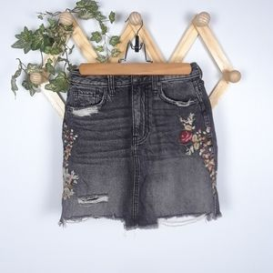 Abercrombie & Fitch | black distressed mini skirt